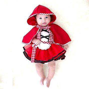 2Pcs Newborn Toddler Baby Girls Clothes Little Red Riding Hood Party Baby Girl Princess Dresses Christmas Baby Girl Clothing