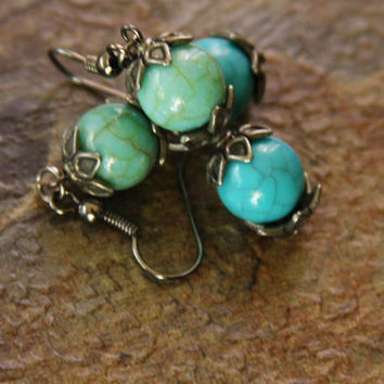 Turquoise and Teal Flowered Dangle Earrings // Handmade // Mother's Day Gift // Gifts for Her // Everyday Earrings
