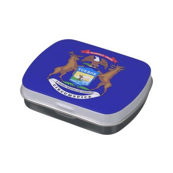 Patriotic candy tins with Flag of Michigan