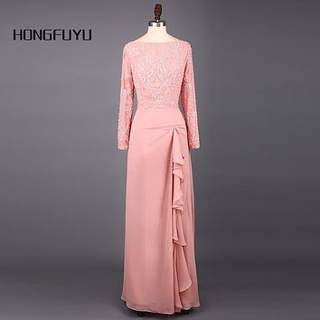 Elegant Peach Scoop Neck Chiffon Sheath Long Bridesmaid Dresses 2017 Long Sleeves Sequined Floor Length Bridesmaid Dress SML1221