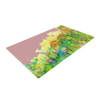 "Rosie Brown ""Sea Life III"" Green Pink Woven Area Rug"