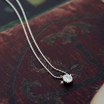 Jewelry Gift New Arrival Shiny Korean Stylish Accessory 925 Silver Rhinestone Simple Design Necklace [7587130247]