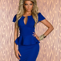 Blue V Neck Cap Sleeve Bodycon Peplum Mini Dress