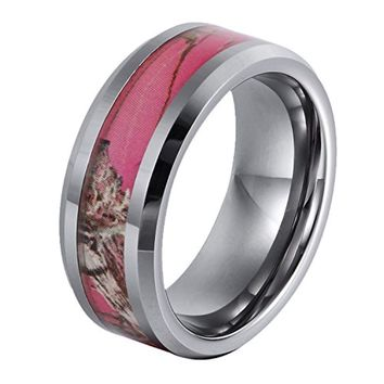 CERTIFIED 8 mm Tungsten Gift Camo Hunting Camouflage Pink Tree Wedding Band