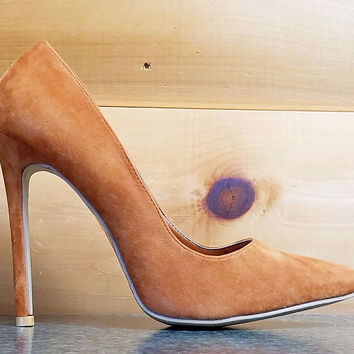 "Alba Ricky Tan Camel FX Suede Pointy Toe Pump Shoe 4.5"" Stiletto Heel 7- 11"