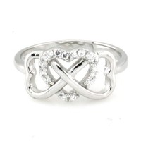 925 Sterling Silver Heart Graduation Infinity Promise Ring w/ Cubic Zirconia - Available Size: 4, 4.5, 5, 5.5, 6, 6.5, 7, 7.5, 8, 8.5, 9, 9.5, 10