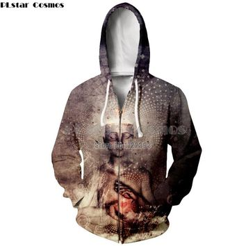 PLstar Cosmos S-5XL High Spirit Psychedelic Hoodies for Men/Women Buddha 3d Print Hoodie Zipper Sweatshirt Casual Zip up Jacket