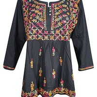 Mogul Womens Black Top Blouse Embroidered Button Front Boho Indian Chkian Tunic Shirt (Large)