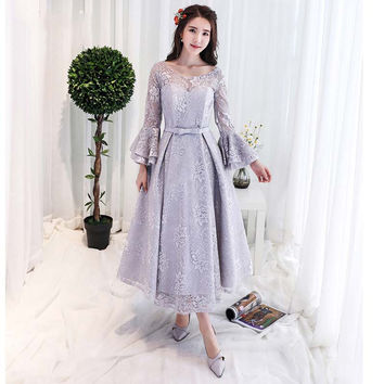 Vintage Style Long Sleeves Tea Length Lace Evening Gown Formal Party  robe de soiree abendkleider