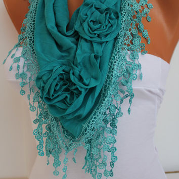 Turquoise cozy Rose Shawl/ Scarf - Headband -Cowl with Lace Edge - Spring Trends