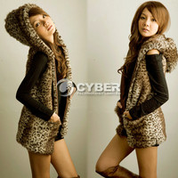 Fashion Korean Style Hooded Leopard Coats Sleeveless Vest Women's Outerwear DZ88