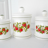 Canisters Strawberry Kitchen Decor Set of Three