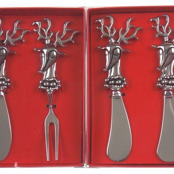 Reindeer Cheese Spreader Knives Fork Party Snack Set of 4 Holidays Christmas