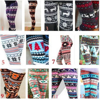 2016 New Fashion Womens Xmas Snowflake Reindeer Knitted Tights Pants Warm Leggings Skinny Slim Pencil Pants Trousers  One size MYD [8833444876]