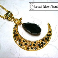 Gold Tone Filigree Crescent Moon Necklace with Black Crystal Bead Wiccan Pagan Celestial Jewelry
