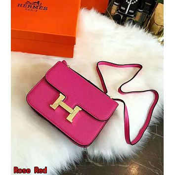 Hermes High Quality Fashionable Women Leather Crossbody Satchel Shoulder Bag Rose Red