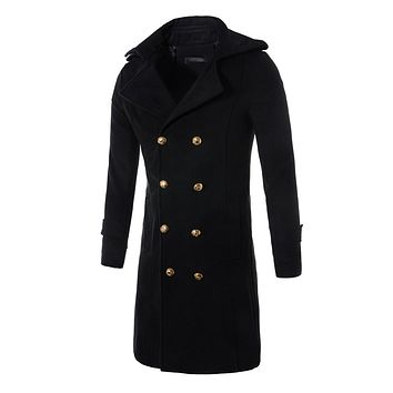 Men Woolen Long Coat Winter Double Breasted Peacoat Trench Overcoat Long Jacket Outwear Thick Warm Windbreaker Outwear Clothes