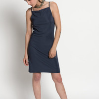 Vintage 90s Minimal Gray Spaghetti Strap Dress | S