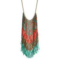 Coral, Bronze, Teal Beaded Long Fringe Necklace