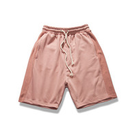 streetwear hip hop korean sexy-mens-fashion short pants blue/pink/beige beach men justin drawstring board sweat shorts