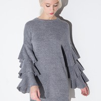 Grey Ruffled Long Sleeve Tunic