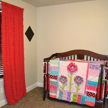 Custom Crib Bedding: Ruffled Curtain, Rag Quilt, Bumpers, Skirt, Fitted Sheet