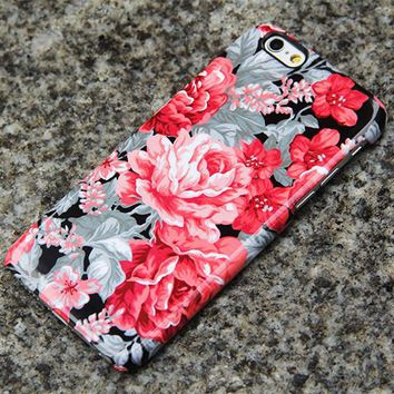 Red Roses Floral iPhone 6s Tough Case, iPhone 6 plus Case, iPhone 5 Case, Galaxy Case 3D 018