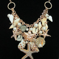 Mermaid Fantasy Beach Sea shell Starfish chandelier necklace Wedding bridal BOHO