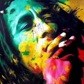 Bob Marley Colorful Portrait Hand-Painted Oil Painting on Canvas