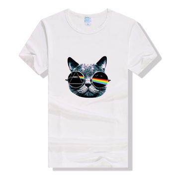 New 2017 Summer Vintage Pink Floyd Cat Print T Shirt Men's High Quality Punk O-neck Brand Tops Hipster Tees