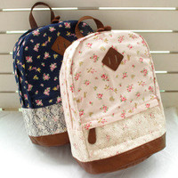 JAPAN Navy Floral Lace Backpack Vintage School Bag Campus Outdoor Rucksack