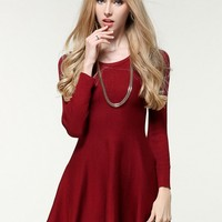 Fashion Solid Long Sleeve A-line Knit Mini Dress - NOVASHE.com