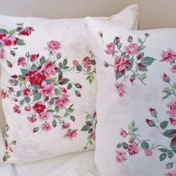 "Shabby Chic pink roses pillows, set of 2 cotton 14"" pillows, upcycled cushions, excellent condition"
