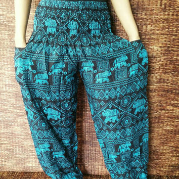 Yoga harem Pants Elephants print fabric Boho Hippie Gypsy Style Massage Tribal design Rayon Exercise summer Festival Clothing Beach in blue