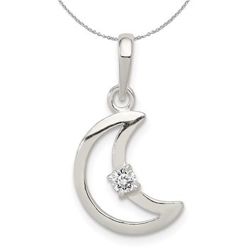 Sterling Silver and CZ Accent Open Crescent Moon Necklace