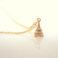 Eiffel Tower Necklace. Tiny Necklace. Simple Necklace. Gold Eiffel Tower Necklace