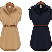 2014 Fashion Women Ladies short Sleeve Chiffon Casual OL Belt Shirt One Piece Mini Dress S M L XL Plus Size Free Shipping-in Dresses from Apparel & Accessories on Aliexpress.com | Alibaba Group