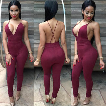 Red Wine Deep V- Neck Strappy Crisscross Cutout Back Jumpsuit
