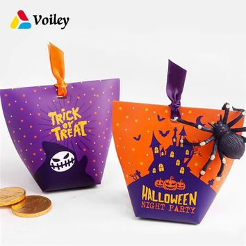 Halloween Trick or treat Decor Pumpkin Ghost skull Candy Box Baby Shower Birthday Party Gift Organizer Box Kids Favor Supplies,7