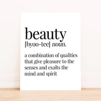 PRINTABLE Art Beauty Definition Apartment Art Dorm Decor Typography Poster Home Decor