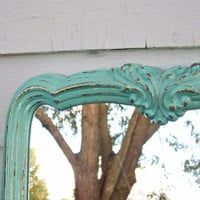 Distressed Robins Egg Blue Ornate Mirror - Shabby Chic - Vintage Mirror - Antique Mirror - Distressed Mirror - Rustic - Shabby - Farmhouse