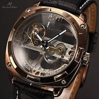 Mens Luxury Skeleton Steampunk Bridge Leather Automatic Mechanical Sport Watch