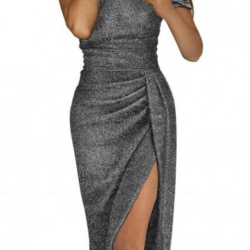 Black Off Shoulder Short Sleeve Metallic Slit Party Dress