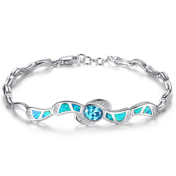 Sterling Silver Blue and Green Fire Opal W. Oval Blue Cubic Zirconia Bracelet