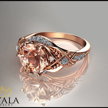 14K Rose Gold  Morganite ,unique engagement ring,Gold Leaf ring,Wedding Rings,Promise Rings,Ladys Jewelry,Engagment Rings