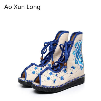 Ao Xun Long Summer Autumn Fashion Women Boots Breathable Fish mouth Embroidered Flat Boots Woman Red Big Size 34-40 botas mujer