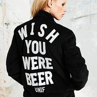 Unif Wish You Were Beer Bomber Jacket in Black - Urban Outfitters