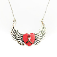 Breast cancer heart and wing necklace / cancer awareness jewelry / heart neklace / wing jewelry / breast cancer jewelry