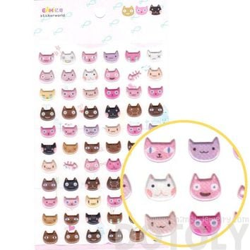 Super Cute Kitty Cat Head Face Shaped Animal Spongy Stickers for Scrapbooking