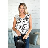 Just Having Fun Spotted Ruffle Sleeve Top : Ivory